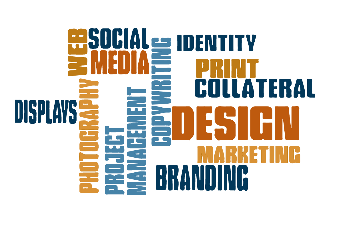 word cloud with displays, web, social media, photography, project management, branding, design, marketing, print collateral, identity, and copyrighting